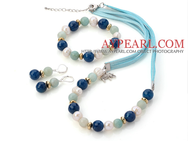 Fashion White Freshwater Pearl And Faceted Round Blue Agate And Amazon Sets (Necklace Bracelet With Matched Earrings)