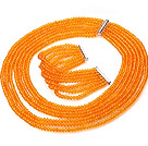 Beautiful Multi Strands Manmade Orange Yellow Crystal Necklace Bracelet Sets With Magnetic Clasp