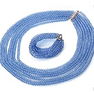 Beautiful Multi Strands Manmade Light Blue Crystal Necklace Bracelet Sets With Magnetic Clasp