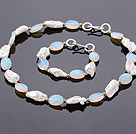 Fashion Irregular Blister Pearl And Oval Shape Opal Stone Sets (Necklace With Matched Bracelet)