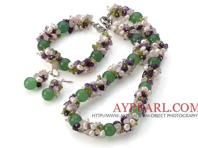 Nice Cluster Style White Pearl And Rose Quartz Amethyst Olive Chips And Round Aventurine Sets (Necklace With Matched Bracelet And Earrings)