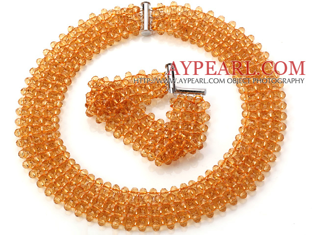 Popular Multi Strands Handmade Orange Yellow Crystal Sets (Netted Necklace With Matched Bracelet)