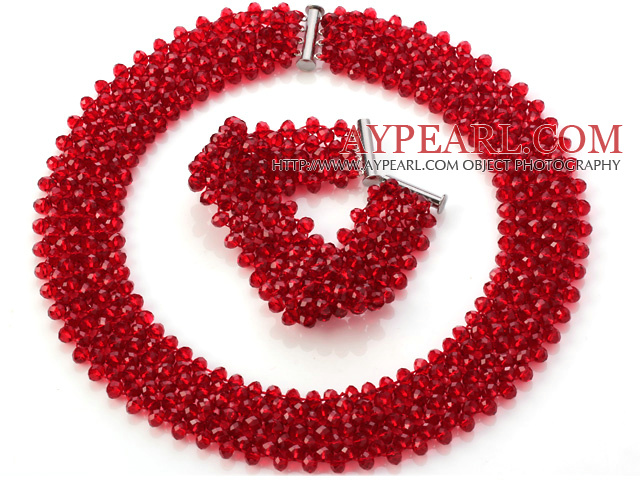 Popular Multi Strands Handmade Red Crystal Sets (Netted Necklace With Matched Bracelet)