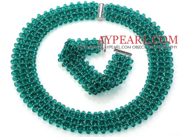 Popular Multi Strands Handmade Green Crystal Sets (Netted Necklace With Matched Bracelet)