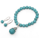 Wholesale Classic Turquoise Beaded Set ( Elastic Bracelet and Matched Earrings )