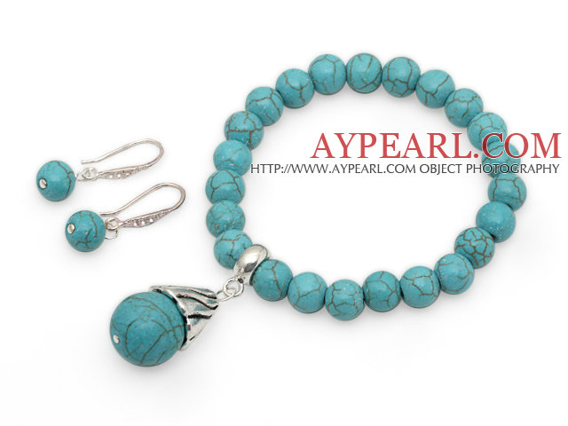 Classic Turquoise Beaded Set ( Elastic Bracelet and Matched Earrings )