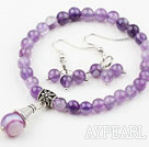 Classic Amethyst Beaded Set ( Elastic Bracelet and Matched Earrings )