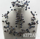 Fancy Style Black Freshwater Pearl Wedding Bridal Set ( Necklace Bracelet and Earrings )