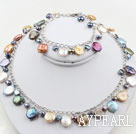 Assorted Multi Color Coin Pearl Set ( Necklace and Matched Bracelet )