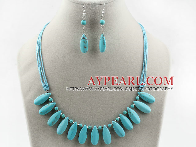 Long Drop Shape Turquoise Set ( Necklace and Matched Earrings )