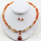 Natural Color Agate Set (Halsband och matchade örhängen)
