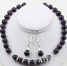 Wholesale 12mm Round Amethyst Set ( Necklace and Matched Earrings )