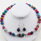 Wholesale 12mm Round Multi Color Agate Set ( Necklace and Matched Earrings )