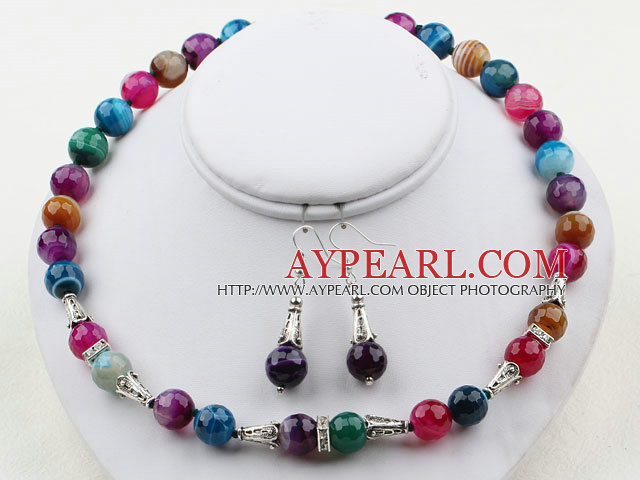 12mm Round Multi Color Agate Set ( Necklace and Matched Earrings )