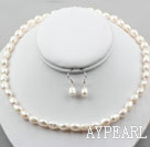 8-9mm White Baroque Pearl Set ( Necklace and Matched Earrings )