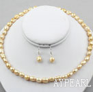 8-9mm Golden Champagne Baroque Pearl Set ( Necklace and Matched Earrings )