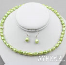 Wholesale 8-9mm Apple Green Baroque Pearl Set ( Necklace and Matched Earrings )