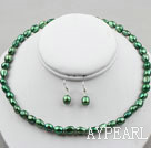 8-9mm Peacock Green Baroque Pearl Set ( Necklace and Matched Earrings )