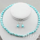 8-9mm Lake Blue Baroque Pearl Set ( Necklace and Matched Earrings )