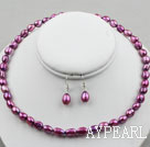 Wholesale 8-9mm Dark Purple Baroque Pearl Set ( Necklace and Matched Earrings )