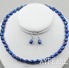 Wholesale 8-9mm Dark Blue Color Baroque Pearl Set ( Necklace and Matched Earrings )