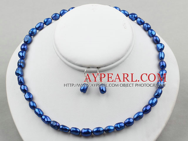 8-9mm Dark Blue Color Baroque Pearl Set ( Necklace and Matched Earrings )