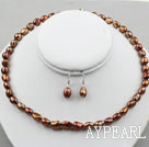 Wholesale 8-9mm Brown Color Baroque Pearl Set ( Necklace and Matched Earrings )