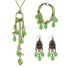 Drop Shape Green Jade Set ( Necklace Bracelet and Matched Earrings )