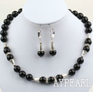 Wholesale Classic Design 12mm Round Black Agate Set ( Necklace and Matched Earrings )