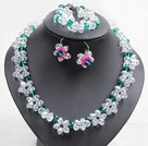 Fancy Style White Green Color Crystal Flower Jewelry Set (Necklace With Mathced Bracelet And Earrings)