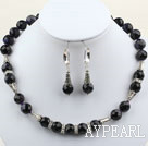 Wholesale Classic Design 12mm Round Faceted Bluesand Stone Set ( Necklace and Matched Earrings )