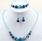 Simple Style rund blau Achat-Set (Halskette und Ohrringe Matched)