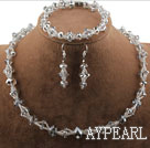 Faceted Gray Crystal Set ( Necklace Bracelet and Matched Earrings )