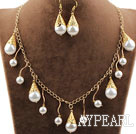 New Design Round Sea Shell Beads Set with Metal Chain ( Necklace Bracelet and Matched Earrings )