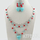 Wholesale Assorted Red Coral and Heart Shape Turquoise Set with Metal Chain ( Necklace and Matched Earrings )
