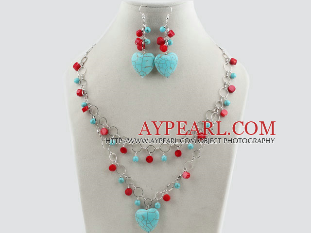 Assorted Red Coral and Heart Shape Turquoise Set with Metal Chain ( Necklace and Matched Earrings )
