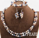 Double Rows Three Color Freshwater Pearl Set ( Necklace Bracelet and Matched Earrings )