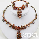 Brown Série Brown perles d'eau douce de Crystal Set (Collier et bracelet assortis)