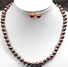 8-9mm Coffee Color Pearl Necklace and Matched Studs Earrings Sets