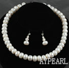 12mm Abacus Shape White Freshwater Pearl Beaded Set ( Necklace and Matched Earrings )