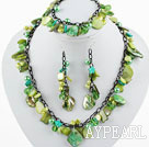 Green Series Green Pearl Shell Set ( Necklace Bracelet and Matched Earrings )