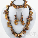 Brown Series Brown Pearl Shell Set ( Necklace Bracelet and Matched Earrings )