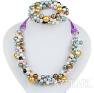 Assorted Multi Color Round Seashell and Crystal Beaded Set ( Necklace and Matched Stretch Bracelet )