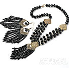 Wholesale Vintage Style Black Crystal Tassel Set ( Necklace and Matched Earrings )