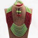 Charming 10 Layers Red & Green Crystal Beads Costume African Wedding Jewelry Set (Necklace With Mathced Bracelet And Earrings)