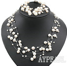 Multi Strands White Freshwater Pearl Set ( Necklace and Matched Bracelet )
