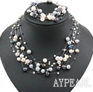 Natural White and Gray and Black Freshwater Pearl Set ( Necklace and Matched Bracelet )