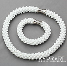 Wholesale White Series White Jade Tube Shape Woven Set ( Necklace and Matched Bracelet)