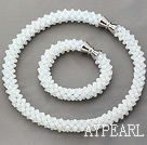 Wholesale White Series White Opal Crystal Tube Shape Woven Set ( Necklace and Matched Bracelet)