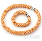 Wholesale Light Orange Series Orange Jade Tube Shape Woven Set ( Necklace and Matched Bracelet)